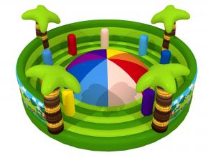China Round Shape Interesting Outdoor Inflatable Sports Games Forest Painting Mountain With Fence Walls on sale