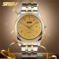3 Bar Waterproof Analog Quartz Watches Gold Dial Japan Movement For Men