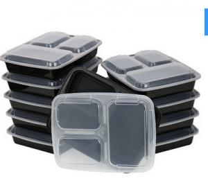 China 3-Compartment Microwave Safe Food Container with Lid/Divided Plate/Bento Box/Lunch Tray wi on sale