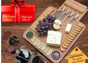 China Antibacterial Bamboo Cheese Board With Knives Wood Charcuterie Platter & Meat Server on sale