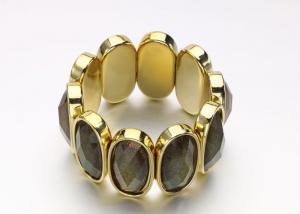 China Gold Acrylic Women'S Fashion  Costume Jewelry Bracelets Bangle With Black Oval Opal on sale