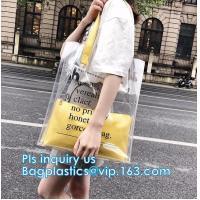 Reusable PVC Soft Loop Handle Bags, long handle clear pvc bedding yellow pvc blanket bag, transparent PVC handle plastic