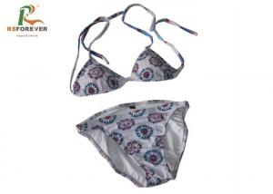 China Bikini Beach Swimsuits Custom Printed Clothing Lycra Material For Girls on sale