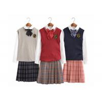 Plus Size Girls Uniform Sweater Vest , School Uniform Skirts For Juniors