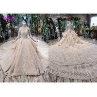 Tulle Wedding Bridal Ball Gowns Long Sleeves V Neckline Lace Applications