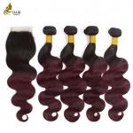 4 Bundles Colored Virgin Hair Extensions T1B / 99J With Closure Body Wave