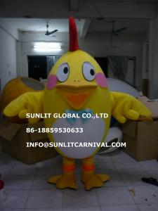 China giant body yellow chicken mascot costume, advertising cock mascot costume on sale