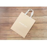 China Nude Carboard Hot Stamped Paper Shopping Bags Biodegradable With White Fabric Handle on sale