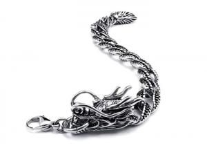 China Antique Finish Stainless Steel Bangle Bracelets Mens Dragon Jewelry For Party on sale