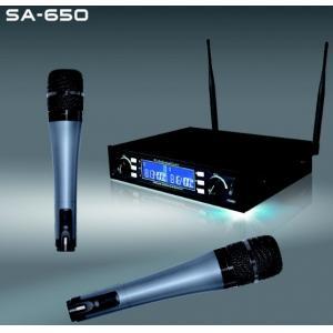 China O karaoke sem fio do sistema do microfone dos canais SA-650 duplos encena o microfone sem fio profissional dos churchs on sale