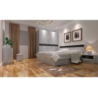 Modern Wooden MDF with White Walnut Melamine Lamination Promotion Furniture Bedroom Set