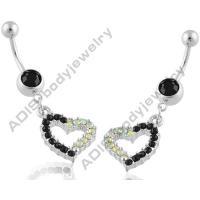 1.6mm Stainless Steel Piercing Jewelry Dangle Belly Ring Bezel Setting Jet Stone