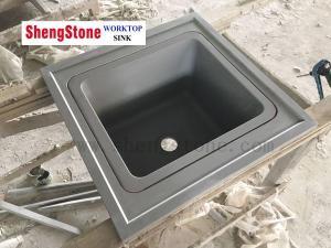 Dark Grey Epoxy Resin Sink Inserted Into Epoxy Resin Worktop for