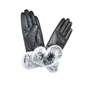 China Fashion sheepskin ladies leather gloves with Rex rabbit fur cuff on sale
