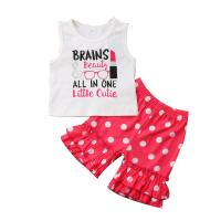 White / Pink Screen Prints Summer Baby Girl Outfit Sets Flower Pant Pattern
