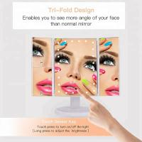 China Lighted Makeup Mirror, Touch Screen LED Table Makeup Mirror -Three Panel Led Light Tabletop Cosmetic Mirror on sale
