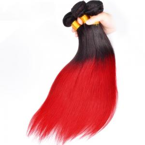 China Silk Soft Ombre Brazilian Hair Weave , Real Human Ombre Remy Hair Bundles on sale