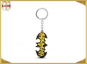 China Personalised Black Metal Key Ring With Yellow Logo For Boys Gift Charm Batman on sale