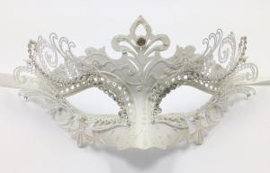 China Metal Filigree Venice Carnival Masks , White / Black / Purple on sale