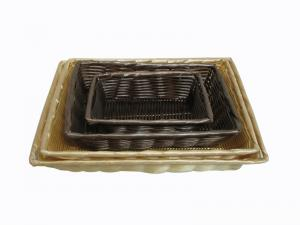 China Pure Hand-woven Hollow Wires Rattan Bread Basket For Bakery And Household on sale