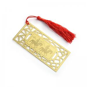 China Square Horse Image Etch Custom Brass Bookmarks With Tassel Simple Design on sale