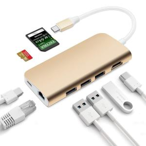 China 8 in 1 MultiPort Adapter 3 USB 3.0,4K HDMI,1000M Ethernet Port,Power Delivery, SD TF Card Compatible MacBook Pro on sale