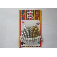 China Disposable Golden Silver Birthday Candles , Spiral Pillar Happy Birthday Cake Candles on sale