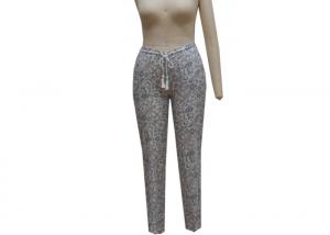 China Cashew Print Ladies Casual Pants Plus Size Tall Trousers With Pompom Waist String on sale