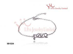 China 925 Sterling Silver Bracelets With Diamond-Cut CZ Link Of Love Bracelet on sale