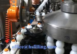 China Yogurt Liquid Bottle Filling Machine 2 - In - 1 Monoblock Aluminium Foil Cap Lid on sale