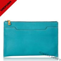 China Chic Designer Pebble Grain Leather Clutch Handbags / Sea Blue Girl Leather Purses With Zipper Pockets on sale