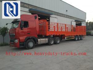 China Red 1.3 Axles  Semi Trailer Trucks  High Coloumn Cargo Trailer on sale
