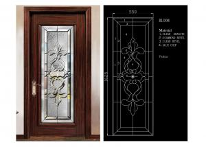 China Classical Color Door Art Glass Panels Thermal Sound Insulation Various Shape on sale