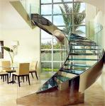 Customized tempered glass panel treads glass curved stairs price