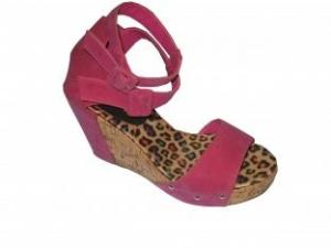 China Wholesale Comfortable PU Fucshia Ladies Wedge Sandals with 10.5cm Heels, 36-41 Size on sale