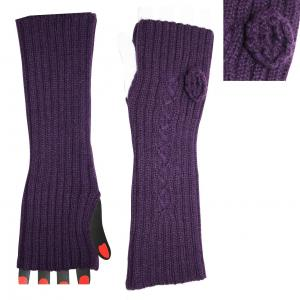 China Custom Made Eco-friendly Acrylic Purple Knitted Arm Warmer For Women / Girls with Competitive Price on sale