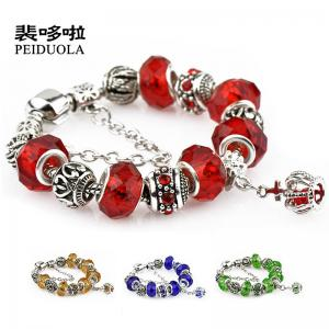 China Colorful Crystal European Beads with Red Murano Glass Beads fit pandora crown Chain Charms Bracelet on sale