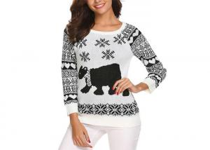 China Custom Round Neck Reindeer Ugly Sweater , Womens Christmas Sweaters Europe Style on sale
