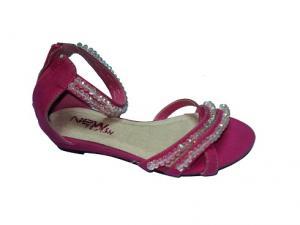 China Custom / OEM New Fashion Comfortable Pink PU/Genuine Leather Laies Ankle Cuff Flat Sandal on sale