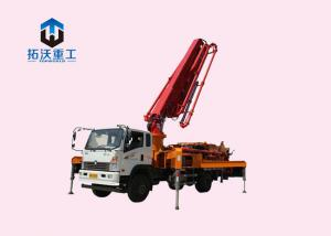 China Truck Mounted Concrete Mixer Pump Truck Remote Control With 25m Boom on sale