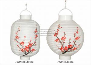 China Garden White Column Led Paper Lantern Lights With Plum Blossom Printed on sale