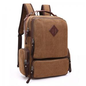 Quality Thick Canvas Stylish Bags For College Guys  / Versatile Laptop Bag With Zipper Side Porket for sale