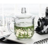 Office Retro Drinking Glasses With Glass Lid / Boss Cup Glass Coffee Mug