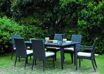 China Six Seater Rattan Dining Set Outdoor Weatherproof Rattan Garden Furniture wholesale