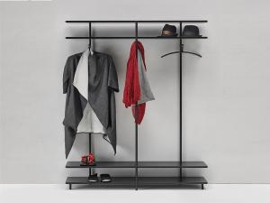 China Wall cabinets Cloth rack display made by Metal tube in powder coating with wood shelves wall on sale