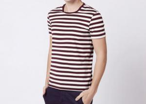 China Three Colors 100% Cotton Striped T Shirt Mens Short Sleeve Comfortable Fabric on sale