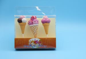 China Colored Ice Cream Cone Shaped Birthday Candles For Children Party No Smoking on sale