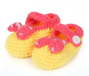 China handmade infant crochet booties baby 3D wholesale sock on sale
