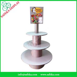 China POS paper material paperboard shelf printed  three tiers cupcake display racks on sale