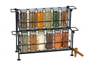 China SGS/FDA   12 pieces small glass  spice jars  with lids on rack 2 tier , 90ml for spicy on sale